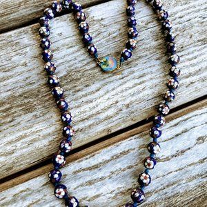 Vintage Chinese Blue Cloisonne Bead Necklace